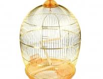 Клетка круглая для птиц, золотая решетка, 48*76,5 см